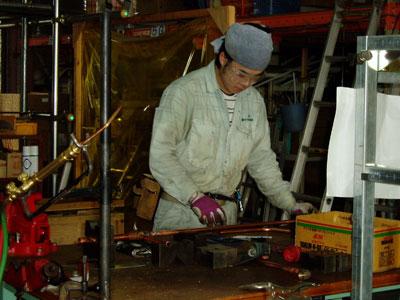 小田選手の銅管作業練習
